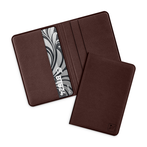 Жесткий футляр для пластиковых карт, цвет коричневый