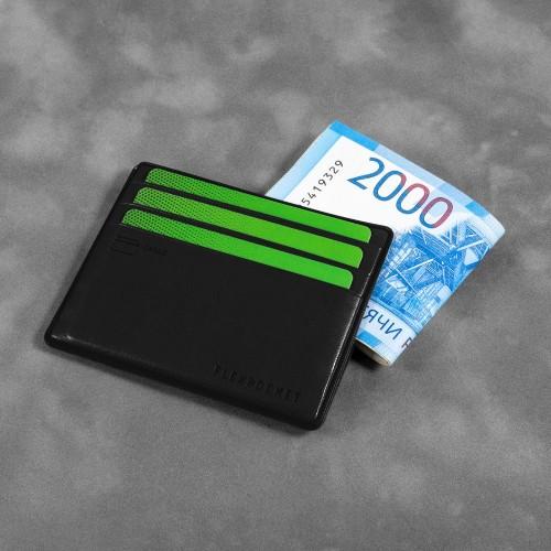 Картхолдер для денег и шести пластиковых карт, цвет черный classic