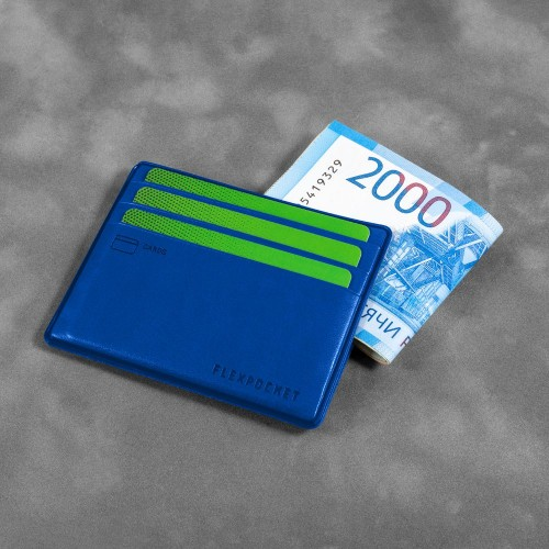 Картхолдер для денег и шести пластиковых карт, цвет синий classic