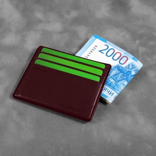 Картхолдер для денег и шести пластиковых карт, цвет коричневый classic