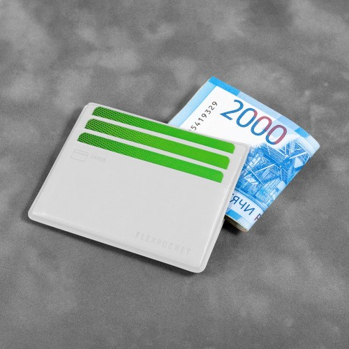 Картхолдер для денег и шести пластиковых карт, цвет белый classic