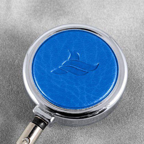 Карман с металлическим ретрактором - горизонтальный, цвет синий Classic