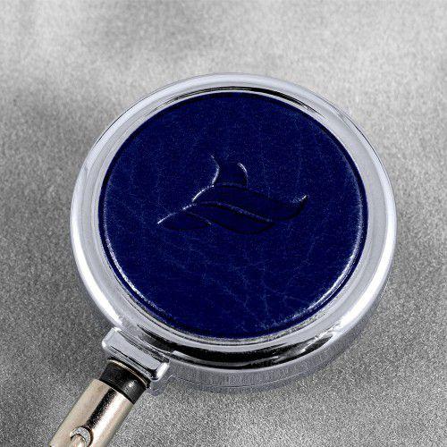 Карман с металлическим ретрактором - горизонтальный, цвет темно-синий Classic