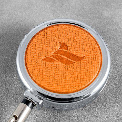 Карман с металлическим ретрактором - горизонтальный, цвет оранжевый