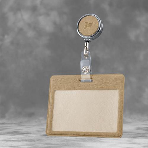 Карман с металлическим ретрактором - горизонтальный, цвет бежевый