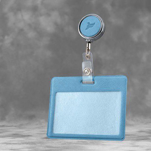 Карман с металлическим ретрактором - горизонтальный, цвет голубой
