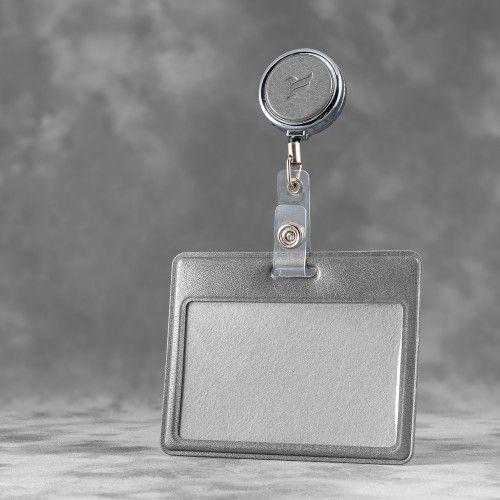Карман с металлическим ретрактором - горизонтальный, цвет серый Classic
