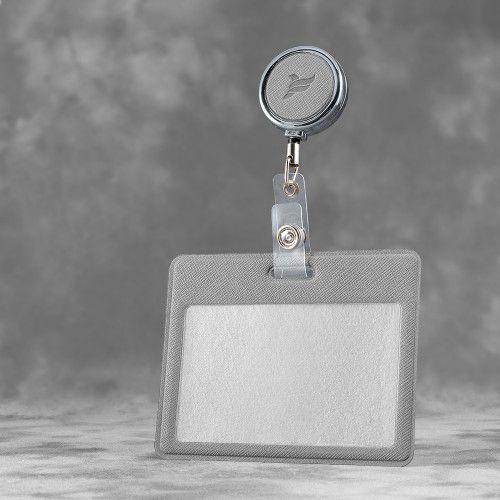 Карман с металлическим ретрактором - горизонтальный, цвет светло-серый