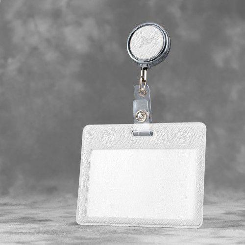 Карман с металлическим ретрактором - горизонтальный, цвет белый