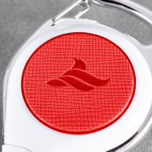 Карман с ретрактором универсальным, цвет красный