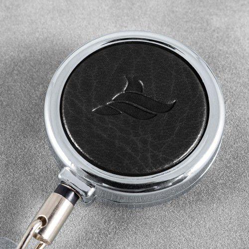 Карман с металлическим ретрактором - вертикальный, цвет черный Classic