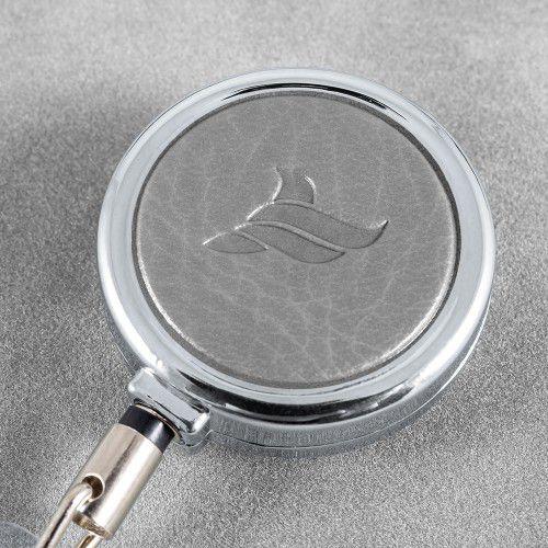 Карман с металлическим ретрактором - вертикальный, цвет серый Classic
