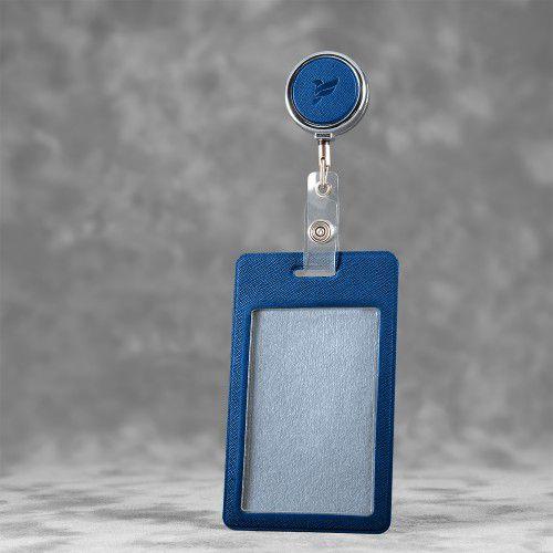 Карман с металлическим ретрактором - вертикальный, цвет синий