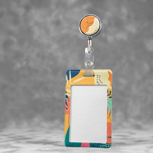 Карман с металлическим ретрактором - вертикальный, полноцветная печать