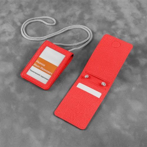 Карман с магнитным замком - вертикальный, цвет красный