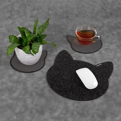 Настольный набор из фетра «Котики», цвет черный