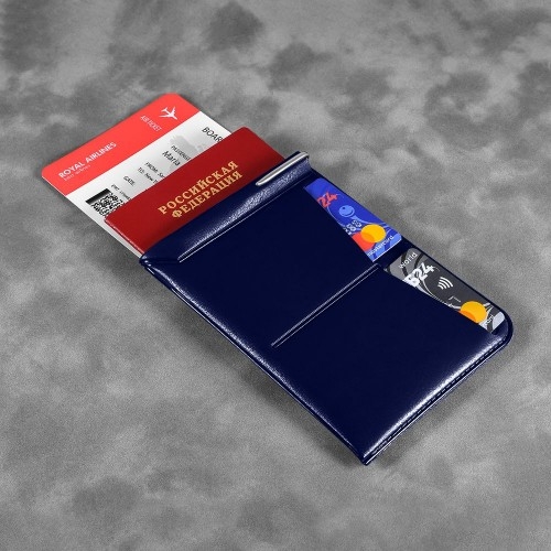 Обложка для паспорта - универсальная, цвет темно-синий classic