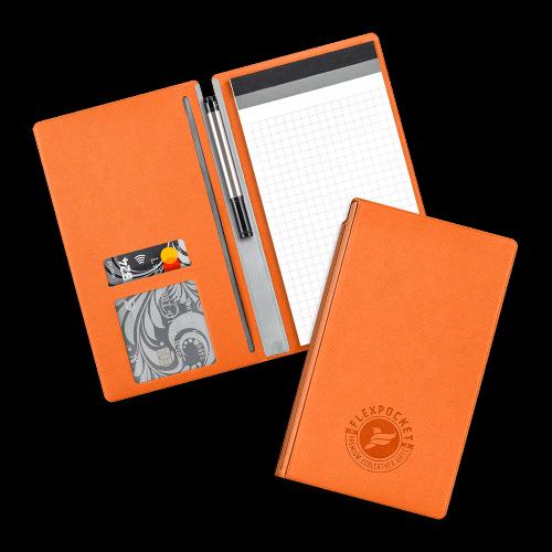 Блокнот-планшет А6 с обложкой, цвет оранжевый
