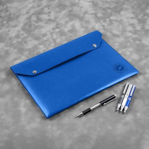 Папка-конверт на двух кнопках, цвет синий classic