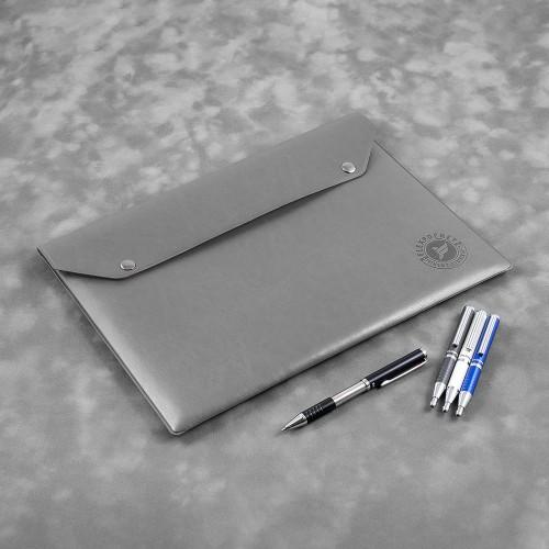 Папка-конверт на двух кнопках, цвет серый classic