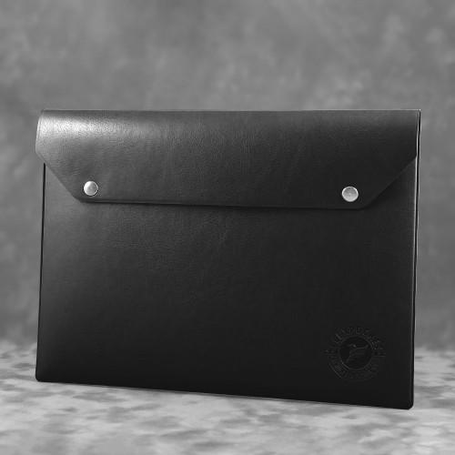 Папка-конверт на двух кнопках, цвет черный classic