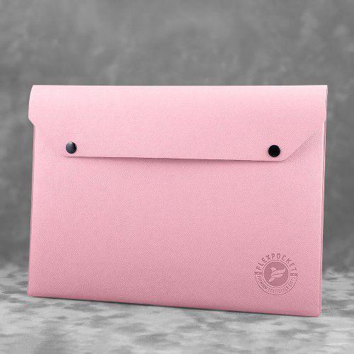 Папка-конверт на двух кнопках, цвет розовый