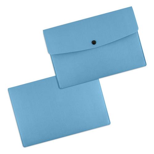 Папка-конверт на кнопке, цвет голубой