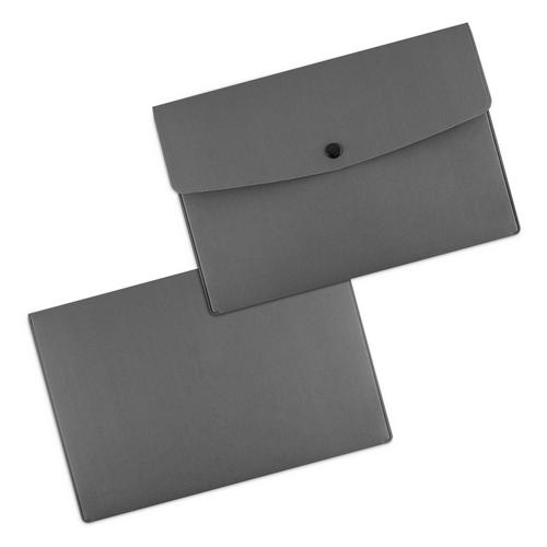 Папка-конверт на кнопке, цвет серый