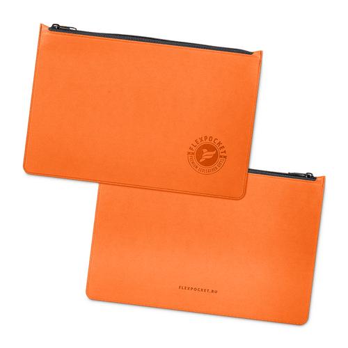 Папка на молнии, цвет оранжевый