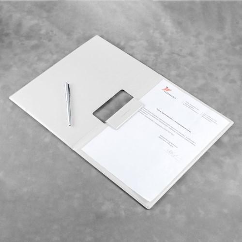 Папка-планшет с магнитным держателем, цвет белый classic