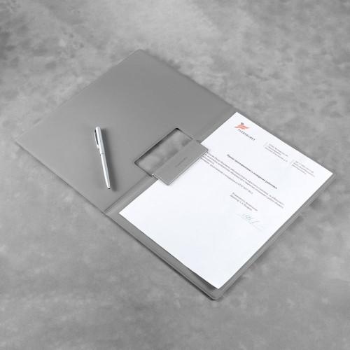 Папка-планшет с магнитным держателем, цвет светло-серый