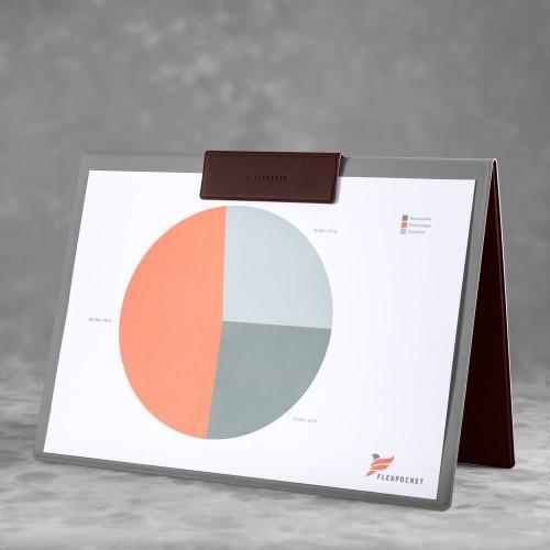 Папка-планшет с магнитным держателем, цвет коричневый