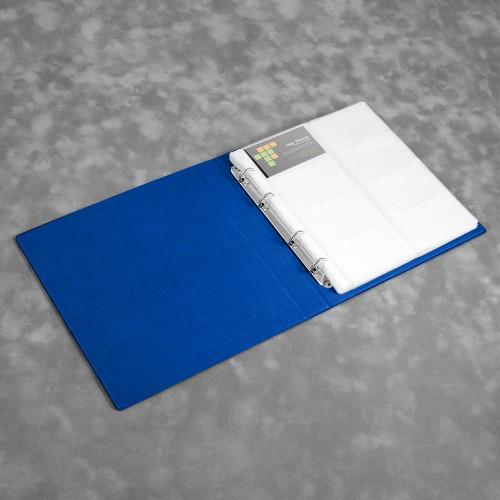 Визитница настольная на кольцах - большая, цвет синий Classic