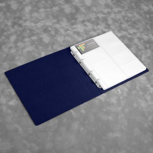 Визитница настольная на кольцах - большая, цвет темно-синий Classic