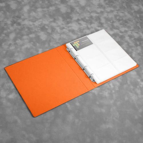 Визитница настольная на кольцах - большая, цвет оранжевый