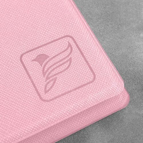 Визитница настольная на кольцах - большая, цвет розовый