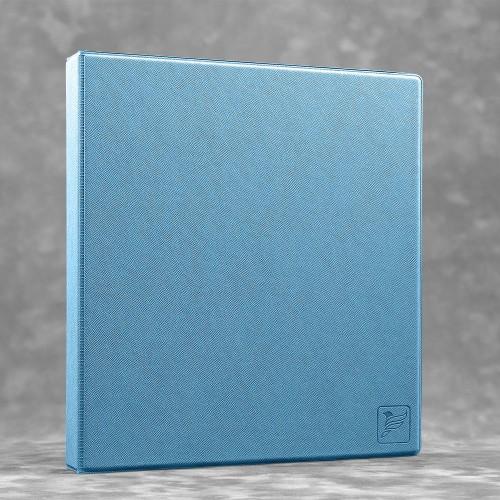 Визитница настольная на кольцах - большая, цвет голубой