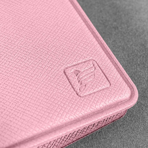 Визитница настольная на кольцах, цвет розовый