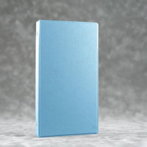 Визитница настольная на кольцах, цвет голубой