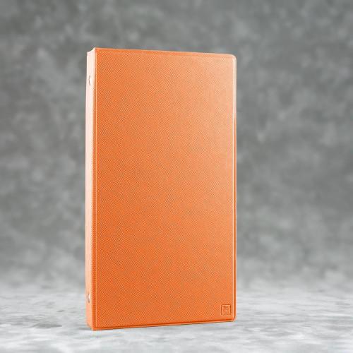 Визитница настольная на кольцах, цвет оранжевый