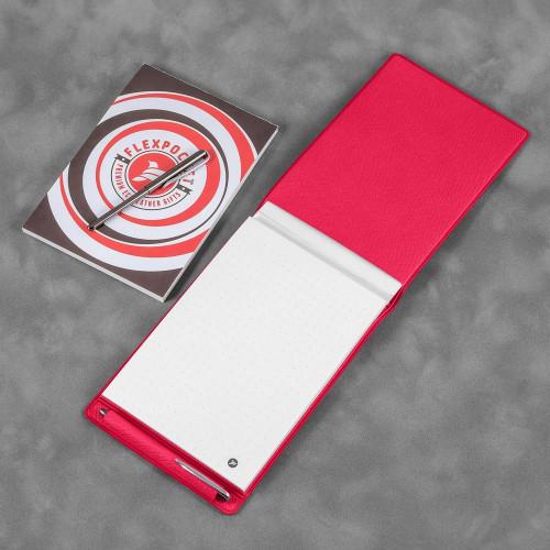 Блокнот B7 с ручкой, цвет маджента