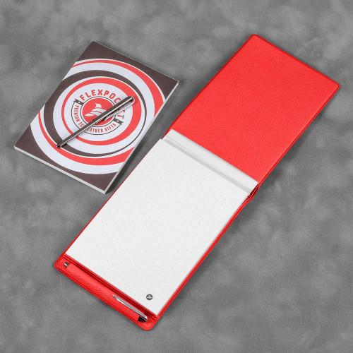 Блокнот B7 с ручкой, цвет красный