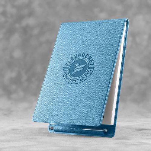 Блокнот B7 с ручкой, цвет голубой