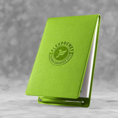 Блокнот B7 с ручкой, цвет зеленый
