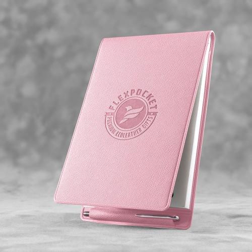Блокнот B7 с ручкой, цвет розовый