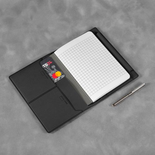 Записная книжка В7 с ручкой, цвет черный
