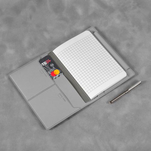 Записная книжка В7 с ручкой, цвет светло-серый