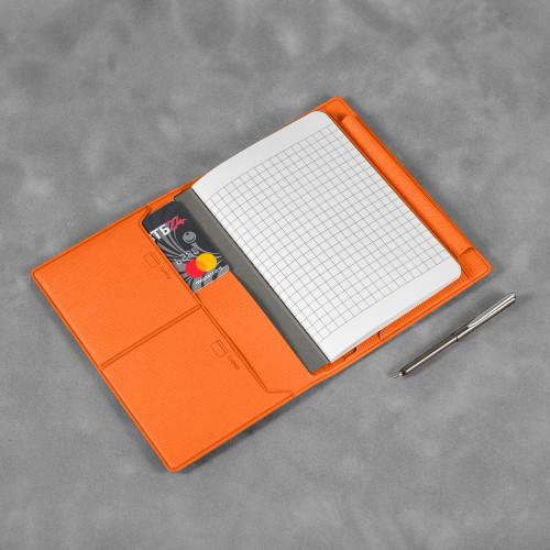 Записная книжка В7 с ручкой, цвет оранжевый