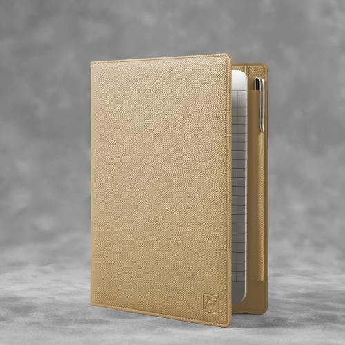 Записная книжка В7 с ручкой, цвет бежевый