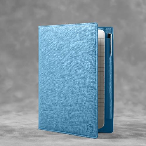 Записная книжка В7 с ручкой, цвет голубой